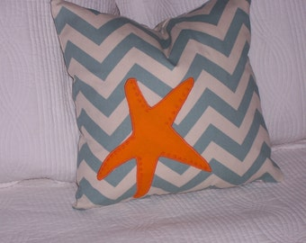 Starfish motif on a chevron background...down pillow