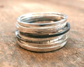Super Thin Sterling Silver Stacking Rings -- Multiple Finishes Available