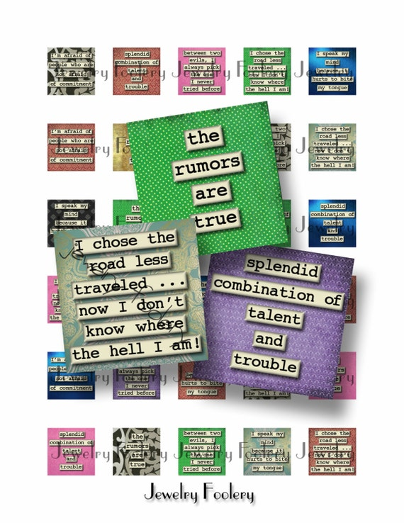 saucy sayings 1x1 digital collage sheet scrabble tiles