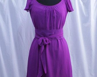 Bridesmaid Violet Chiffon Dress, Wedding Guest, Reception, Formal, Ready made, Custom