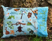 Toddler Pillow -Pillowcase - Hooty Hoot Animals - Turquoise Minky - Personalized -Baby Boy, Teen,Adult