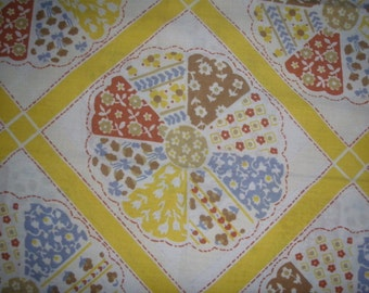 Quilted Circles Yellow KING SIZE PILLOWCASE- Recliamed Bed Linens
