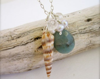 Beachy Shell Sterling Silver Necklace, dainty shell necklace made in Hawaii, healing properties, ocean love, beach jewelry, sea shells