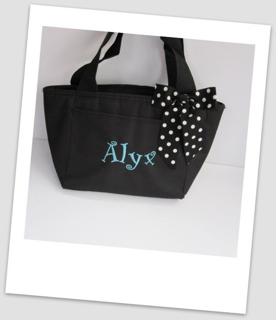 Monogrammed Black Insulated Lunch Bag Box Cooler Personalized