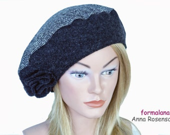 dark gray, anthracite, herring bone lines,  beret, hat, felted wool, flower