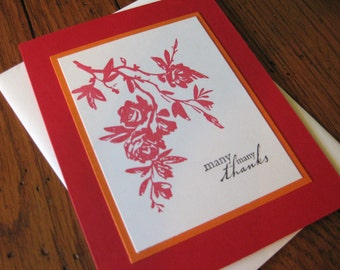 many many thanks with red roses - handmade greeting card