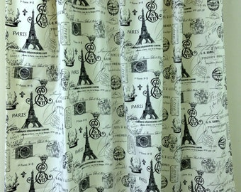 Pair of designer curtain drapery panels, LINED French stamp, sunshine navy, 50 X 90 inches