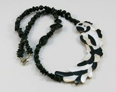 Vintage Black and White Necklace 1970s - Asymmetrical Necklace - Macaw Necklace