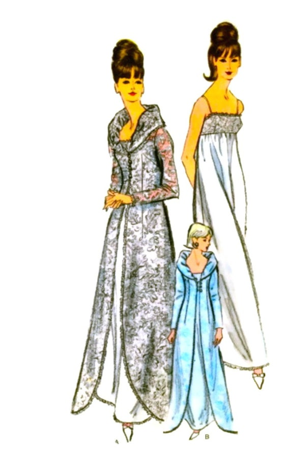 Vogue 6430 - Vintage Sewing Pattern - FF - GLAMOROUS Dressing Gown, Peignoir Robe, Negligee - Bust 34