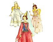 1950s Fairy Angel Princess Costume Pattern Flowing Gown Peplum Vest Simplicity 4071 Girls Size Medium Vintage Sewing Pattern No Envelope