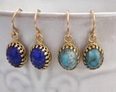 blue lapis earrings, gold earrings, blue turquoise earrings, vintage jeweled earrings, friendship earrings, small drops, 14k gold filled