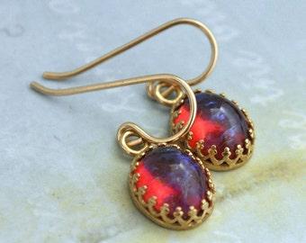 FIRE OPAL EARRINGS  vintage dragon's breath mexico fire opal glass cab earrings gold filled