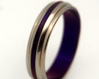 Titanium wedding ring, wedding ring, titaniun rings, mens ring, womens rings, eco-friendly - PASSION FOR PURPLE