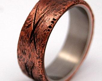 Titanium wedding ring, wedding ring, titaniun rings, mens ring, womens rings, eco-friendly - HAND BEATEN COPPER