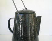 Vintage Enamel Coffee Pot Black and White