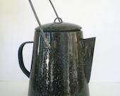 Vintage Enamel Coffee Pot Black and White