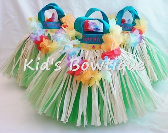 Set of 4 Luau Hula Party Favor Tutu Bags - MONOGRAMMED