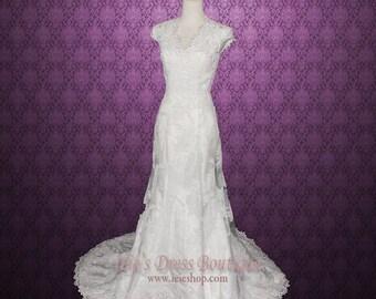 Modest Lace Overlay Wedding Dress | Modest Wedding Dress | Lace Wedding Dress | Vintage Wedding Dress | Satin Wedding Dress | Michelle