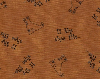 Honey and Me Tan Halloween Witches Boot Fabric 1/2 Yd Cut Off The Bolt