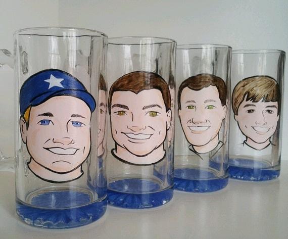 Set of 6 - Groomsmen Gifts - Original Caricature Beer Mug - Custom - Personalized