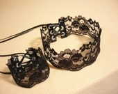 Romantic Lace Jewelry Set in Black, Textile Choker a. Bracelet Gothic Victorian, Gift for Her, Retro Necklace Corset Tie, Baroque Neck Piece