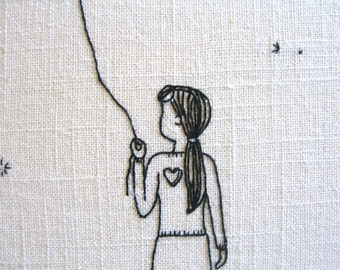 Will You, hand embroidery pattern, heart on a string, dandelion, love, romance