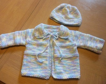Sweater Set - Hand Knitted Baby Sweater with Hat - Fits Baby Boy or Girl 12 month - Colors are in a Blue Mix