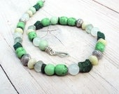 Pastel Green Beaded Necklace, Pastel Colors Necklace, Rough Apatite Nuggets, Green Yellow White, Sterling Silver Beads, OOAK