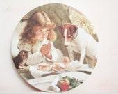 Vintage Decor. Vintage Melamine Plate. Decorative Collectables. Child, Dog and Kitten.