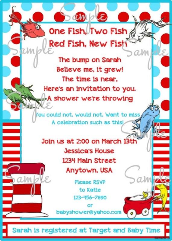 One Fish Two Fish Baby Shower Printable Invitation Diy