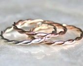 Intertwined Band of Recycled Sterling Silver, 14kt Yellow Gold Fill, or 14kt Rose Gold Fill - Wedding, Promise, Toe Ring - Eco Friendly