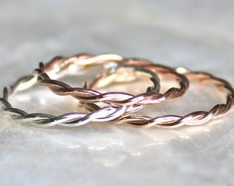 Twisted Intertwined Band in Recycled Sterling Silver, 14kt Gold Fill, or Solid 14k Gold, Wedding, Promise, Toe Ring Eco Friendly Recycled