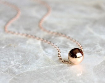 Single Floating Bead Necklace of Sterling Silver, 14kt Yellow Gold Fill, or 14kt Rose Gold Fill - Eco Friendly