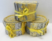 Yellow and Gray Quilt Fabric Jelly Roll Strips - SEW FUN QUILTS Time Saver Quilt Kit