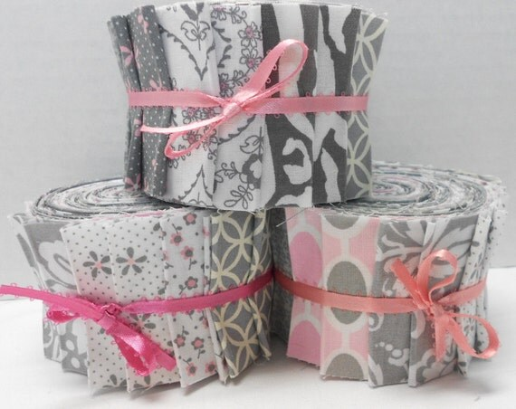 Pink And Gray Quilt Fabric Jelly Roll Strips Sew Fun Quilts