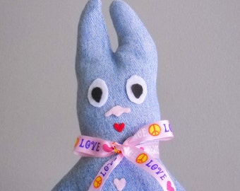 Bunny Toy  Stuffed Bunny Love And Peace Denim