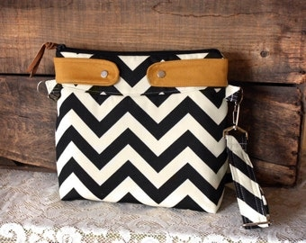 Black/Cream Chevron Purse Crossbody bag Nautical look Chevron tote handbag --Made to order