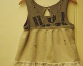 SALE Tattered Sweatshirt Redesigned Baby Doll Top