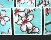Mini Cards - Blank Tags - Gift Note Enclosure Card - Blossoms (Set of 12)