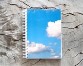 dreamy fluffy clouds, blue sky, spiral dream journal, 4x6