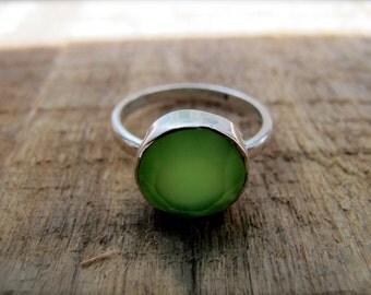 Lime Green Quartz Love Ring