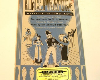 H. M. S. Pinafore Operetta In Two Acts Vintage Music