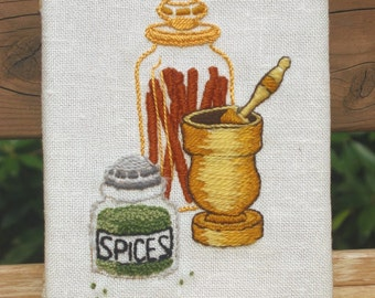 Spices 5x7, small Embroidered 1974 panel, Mortar and Pestle, cinnamon, textured