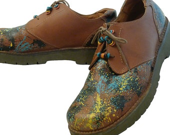 Mens Rockport Lace Up Brown Work Shoes // Size 12 W // Hand Painted Spatter Splash //  Hippies Waiters HairDressers //