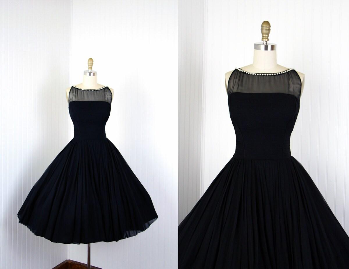 1950s Dress Vintage 50s Dress Black Silk Chiffon Designer