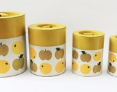 RESERVED. Retro Yellow Metal Kitchen Storage Containers Set of 4 Made in Japan