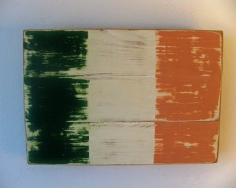 Distressed Irish Flag Wood Wall Hanging