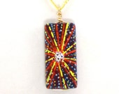 Handpainted Brightest Star on Wood Pendant, Original Painting, Necklace with Crystals