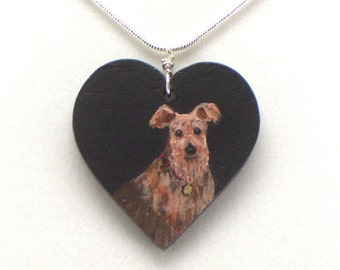 Hand Painted Dog Necklace, Animal Portrait Heart Charm, Wood Pendant