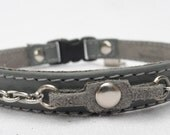 Leather Cat Collar with safety Clasp with Chain accents by Ruggit Collars